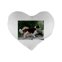 Welsh Springer Spaniel Full Standard 16  Premium Flano Heart Shape Cushions