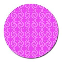 Pink elegant pattern Round Mousepads