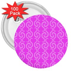 Pink elegant pattern 3  Buttons (100 pack)
