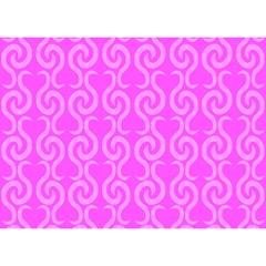 Pink elegant pattern Birthday Cake 3D Greeting Card (7x5)