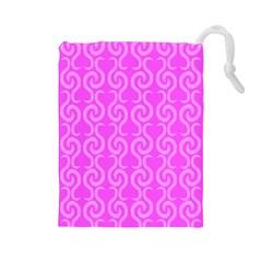 Pink elegant pattern Drawstring Pouches (Large)
