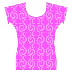 Pink elegant pattern Women s Cap Sleeve Top