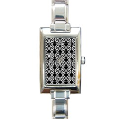 Black and white pattern Rectangle Italian Charm Watch