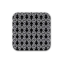 Black and white pattern Rubber Coaster (Square)