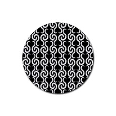 Black and white pattern Rubber Coaster (Round)