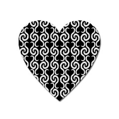 Black and white pattern Heart Magnet