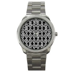 Black and white pattern Sport Metal Watch