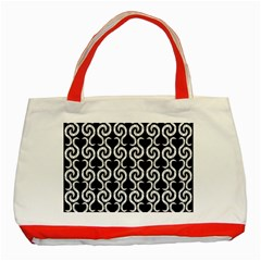 Black and white pattern Classic Tote Bag (Red)
