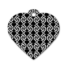 Black and white pattern Dog Tag Heart (One Side)