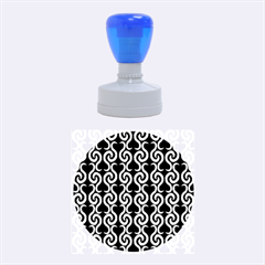 Black and white pattern Rubber Round Stamps (Medium)
