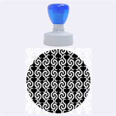Black and white pattern Rubber Round Stamps (Large)