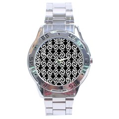 Black and white pattern Stainless Steel Analogue Watch