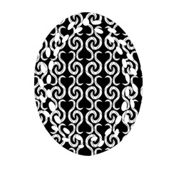 Black and white pattern Oval Filigree Ornament (2-Side)