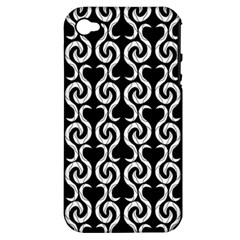 Black and white pattern Apple iPhone 4/4S Hardshell Case (PC+Silicone)