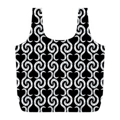 Black And White Pattern Full Print Recycle Bags (l)