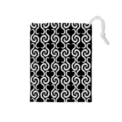 Black and white pattern Drawstring Pouches (Medium)