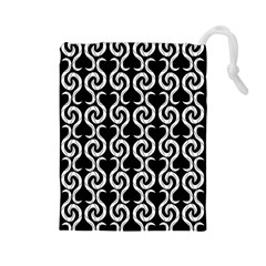 Black and white pattern Drawstring Pouches (Large)
