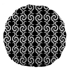Black and white pattern Large 18  Premium Flano Round Cushions