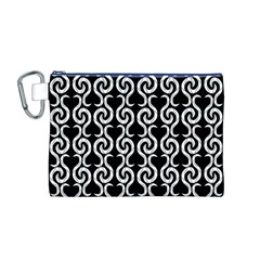 Black and white pattern Canvas Cosmetic Bag (M)