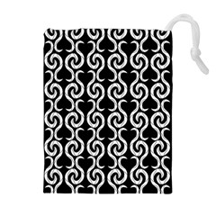 Black and white pattern Drawstring Pouches (Extra Large)