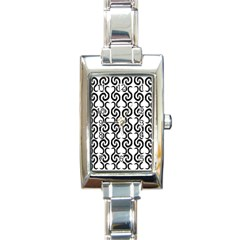 White and black elegant pattern Rectangle Italian Charm Watch