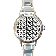 White and black elegant pattern Round Italian Charm Watch