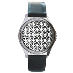 White and black elegant pattern Round Metal Watch