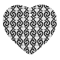 White and black elegant pattern Ornament (Heart)