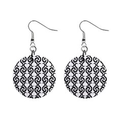 White and black elegant pattern Mini Button Earrings