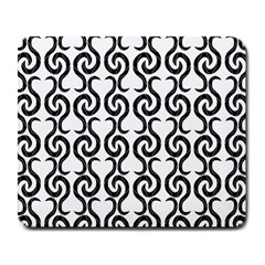 White and black elegant pattern Large Mousepads