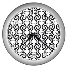 White and black elegant pattern Wall Clocks (Silver)