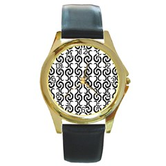 White and black elegant pattern Round Gold Metal Watch