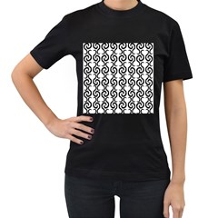 White and black elegant pattern Women s T-Shirt (Black) (Two Sided)