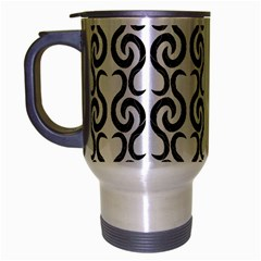 White and black elegant pattern Travel Mug (Silver Gray)