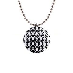 White and black elegant pattern Button Necklaces