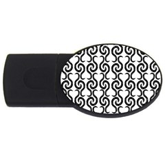 White and black elegant pattern USB Flash Drive Oval (4 GB)