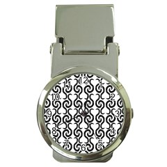 White and black elegant pattern Money Clip Watches