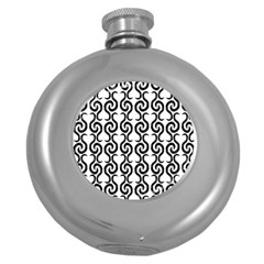 White and black elegant pattern Round Hip Flask (5 oz)
