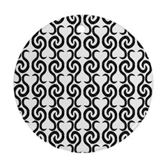 White and black elegant pattern Round Ornament (Two Sides)