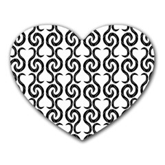 White and black elegant pattern Heart Mousepads