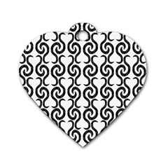 White and black elegant pattern Dog Tag Heart (Two Sides)