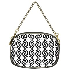 White and black elegant pattern Chain Purses (One Side)