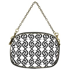 White and black elegant pattern Chain Purses (Two Sides)