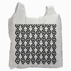 White and black elegant pattern Recycle Bag (Two Side)