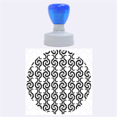 White and black elegant pattern Rubber Round Stamps (Large)