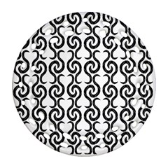 White and black elegant pattern Round Filigree Ornament (2Side)