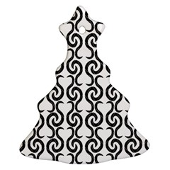 White and black elegant pattern Christmas Tree Ornament (2 Sides)