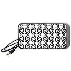 White and black elegant pattern Portable Speaker (Black)