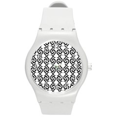 White and black elegant pattern Round Plastic Sport Watch (M)