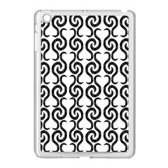 White and black elegant pattern Apple iPad Mini Case (White)